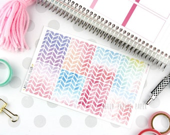 Watercolor warm herringbone full box stickers - matte stickers for planners / erin condren sized / September themed
