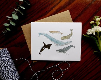 Single Watercolor Whale Greeting Card - Blank Inside