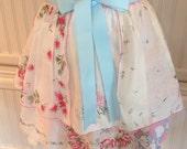 Vintage half apron handkerchief shabby chic baby blue pink