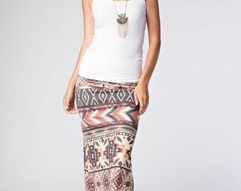 S532 Full Length Wide Waistband Boho Chic Bohemian Tribal Ethnic Stripe Print Maxi Skirt (Made in USA)