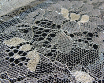White  with Silver yarn Lace, chantilly lace, silver lace ,   B000051