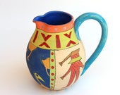 A Naive Painted Pitcher, Hand Painted Ceramic Pitcher, Hand Made Ceramic Jar, READY TO SHIP