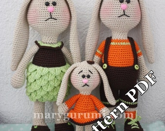 Pattern, boss, family of rabbits to crochet amigurumi tutorial