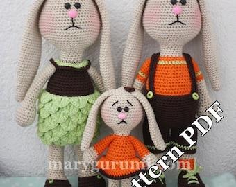Crochet Pattern, pattern, tutorial, Amigurumi rabbit family