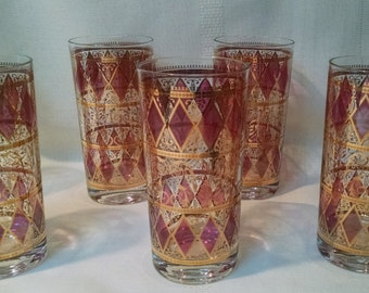 Culver Cranberry and Gold Highball  12 Ounce Glasses/Tumblers - Mid Century Mad Men Bar Decor - Set of 7
