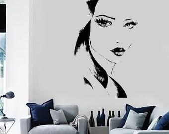 Wall Decal Fashion Girl With Beautiful Face Vinyl Sticker Art 1413dz