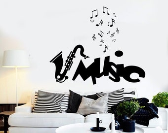 Wall Vinyl Music Notes Jazz Guaranteed Quality Decal Mural Art 1545dz
