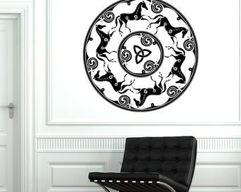 Wall Vinyl Horses Ancient Celtic Symbol Ornament Mural Vinyl Decal Sticker 1442dz