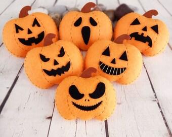 Pumpkin Halloween Decorations Jack O Lantern Halloween Gift Baby Shower Favors Thanksgiving Decor Orange Pumpkin Felt Toy Autumn Decorations