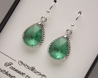Green Earrings, Chrysolite, Teal, Aqua, Seafoam, Bridesmaid Earrings, Wedding Jewelry, Silver, Bridesmaid Jewelry, Bridesmaid Gifts, Bridal