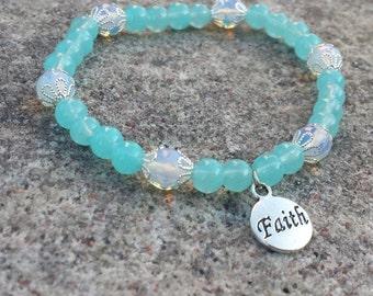 Faith Bracelet, Stretch Bracelet, Beaded Bracelet, Beaded Stretch Bracelet, Moonstone, Beaded