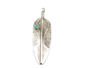 Handmade Native American Navajo Sterling Silver Turquoise Feather Pendant