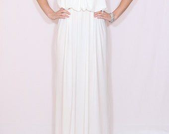Long white dress Maxi dress White wedding dress Spaghetti strap dress