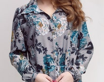 Woman Shirt Beautiful Long Sleeved Shirt Gray With Floral Print Satin Blouse