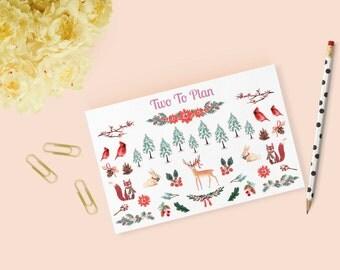 Winter Woods Decorative Sticker Sheet! Planner Stickers Perfect for the Erin Condren Life Planner!
