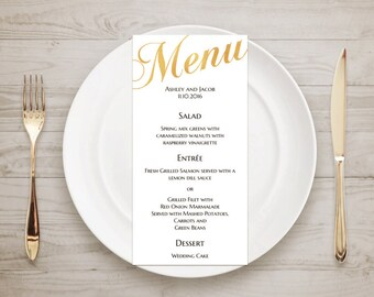 Wedding menu template Gold menu Instant download Traditional wedding menu Elegant Minimalist menu Table cards Wedding table decor T52