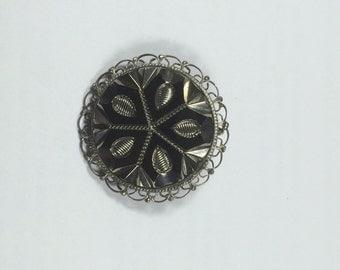 Sterling Silver 925 Grey Gray Circular Brooch Pin with Geometric Design 5937