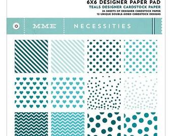 My Mind's Eye Necessities Paper Pad - Teals, 6x6 Scrapbook Paper Pad