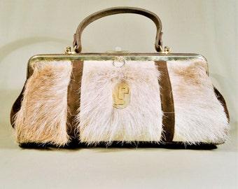 Vintage Brown Suéde Fur Leather Bag, Shoulderbag, Shoulderpurse, Handbag, Evening Bag