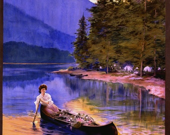 New Hampshire Boat Lady Lake White Mountain National Forest Travel Tourism Vintage Poster Repro FREE SHIPPING in USA