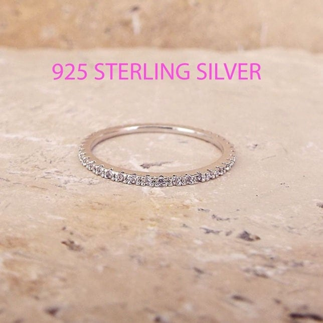 1 mm Sterling Silver Eternity Band White Gold CZ Diamond Stacking Eternity Ring Rhodium Full Eternity Micro Pave Ultra thin Wedding Band