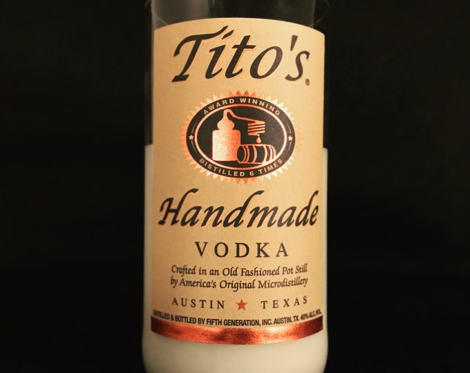 Recycled Tito's Vodka Bottle Candle