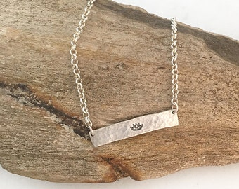 Custom Bar Necklace Silver  |  Silver Lotus Necklace  |  Hammered Necklace  |  Zen Jewelry | Silver Clay Necklace | Silver Yoga Necklace