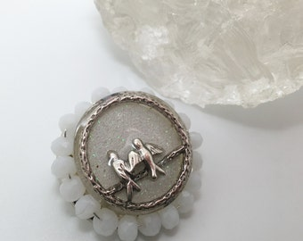 Winter Romance, snowy love bird pin brooch made from resin, glitter and glass crystals.
