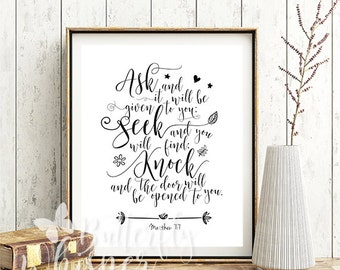 Ask and it will be given to you print, Matthew  7:7 bible verse scripture print, Printable christian wall artdecor, Wall quote Typographic