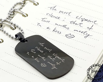 Engraved Handwriting Dog Tag Necklace - Personalized message in your own writing Non Tarnish Stainless Steel Unisex Dog Tag Key Chain
