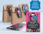 Monster High Party Kit - edit and print as many copies as you like / Invitation plus 6 types of Lolly Bag tags / Personalise for your guests