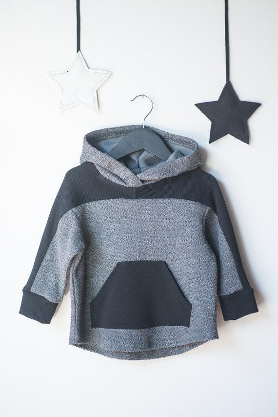 CARIBOU - long-sleeve sweaters with hood, hoodie, kangaroo pocket, pull - black and grey