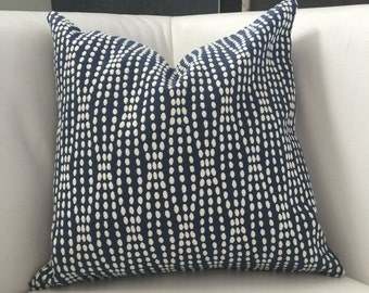 "Navy and White Accent Pillow-  Blue and White Pillow 16""x16"",  Throw pillow- white navy -  Neutral Accent Pillow - Modern Pillow Cover"