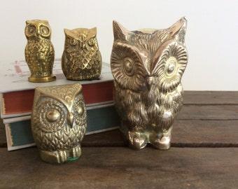 Vintage Brass Owl Figurine Collection