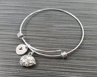 Hedgehog Bangle - Hedgehog Charm Bracelet - Expandable Bangle - Charm Bangle - Hedgehog Bracelet - Initial Bracelet - Woodland Bracelet