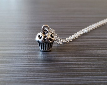 Silver Cupcake Necklace - Cupcake Charm Pendant - Personalized Necklace - Custom Gift - Initial Necklace - Personalized Gift 3D Charm