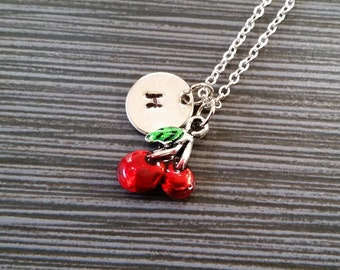 Silver Red Cherry Necklace - Cherry Charm Pendant - Personalized Necklace - Custom Gift - Initial Necklace - Personalized Gift - Berry