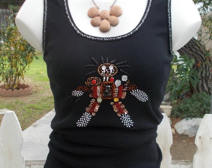 Vintage 90s UMGEE Black Cotton Hand Beaded Rhinestone Sequin Stick-man Embellished Bead Womens Tank Top T-shirt S/M