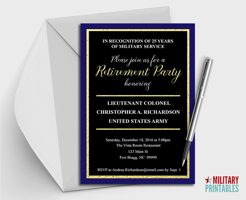 Army Retirement Party Invitation Printable Editable – Military Retirement Party Invitations