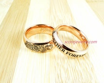 2 Piece Couple Set 14K Rose Gold Tungsten Bands, Domed Edge Gallifreyan Pattern 8mm & 4mm Together Forever Though Time and Space