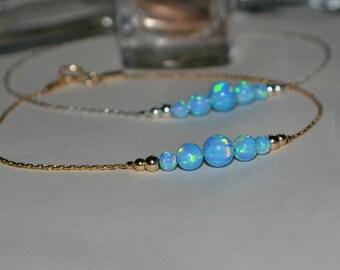 OPAL BRACELET // Blue Opal Ball Bracelet - Opal Charm Bracelet - Opal Bead Bracelet - Opal Dot Bracelet - Everyday Opal Bracelet