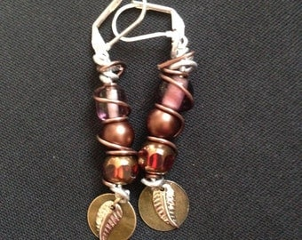 Bead and Wire Wrap Dangle Earring