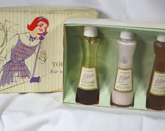 "Vintage Young Miss Toiletries Boxed Set ""Lilac"" Jergens"