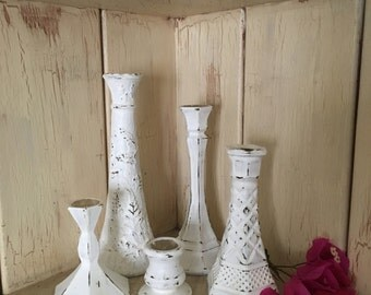 Upcycled Shabby Chic Distressed Vintage Glass Candlesticks or Vases, Set of 5 for Wedding Decor or Holiday Decor, White Candle Holders