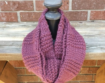 Knit Infinity Scarf, Chunky Knit Scarf, Cowl - Fig
