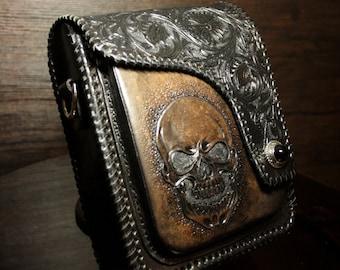 Hand-tooled leather mens bag, leather biker bag, messenger bag, carved bag in biker style, hand-carved bag, small leather bag, mens gift