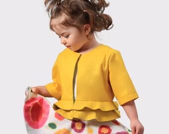 Girls peplum top/Toddler girl short jacket/Peplum jacket/Ruffles dressy jacket/Frills cropped jacket/Cropped peplum blazer/Tailored jacket