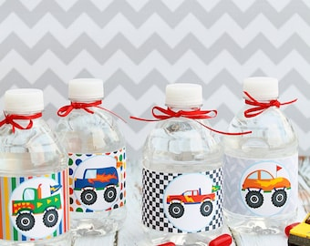 Monster Trucks Theme Printable Water Bottle Wrappers, Monster Truck Bottle Labels, Instant Download, Truck Party Printable Wrapper