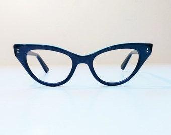 Vintage 1950's Frame France Black Cat Eye Eyeglass Frames, New Old Stock, Hand Made, NOS, True Vintage, 1950s Cateye Black Frames, Pin Up
