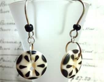 Vintage Black & Cream Stencil Button Earrings, Black Glass Beads, Hand Made Ear Wires, Silver Wire, Spark Joy